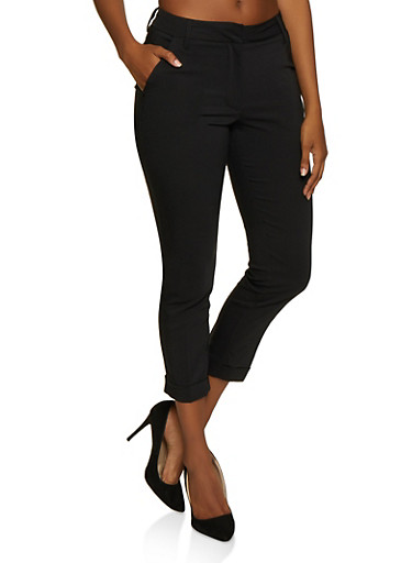 Cuffed Trousers,BLACK,large
