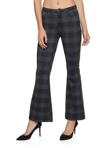 Plaid Flared Pants,GRAY,large