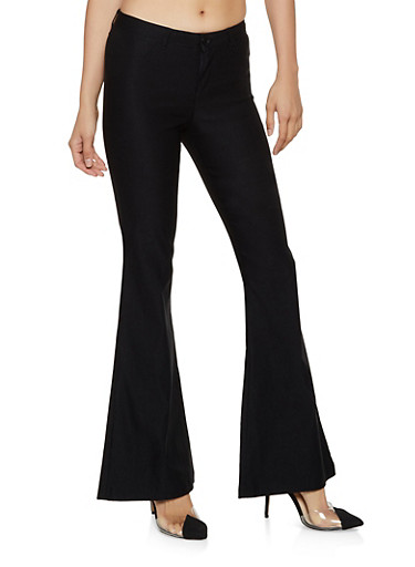 Flared Stretch Dress Pants,BLACK,large