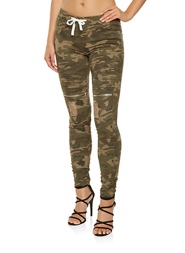 Ruched Camo Moto Jeggings,HUNTER,large