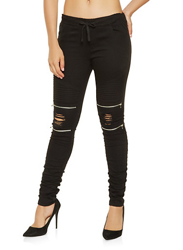 Ruched Moto Joggers,BLACK,large