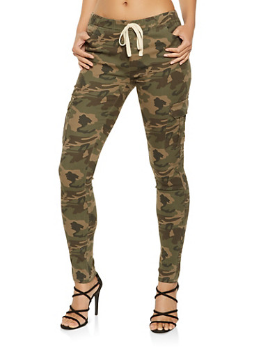 Camo Cargo Jeggings,HUNTER,large