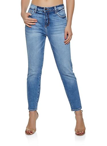 Cello Whisker Wash Mom Jeans,MEDIUM WASH,large