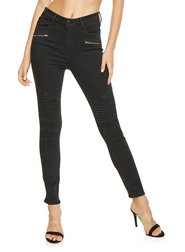 Cello Zip Moto Jeans,BLACK,large