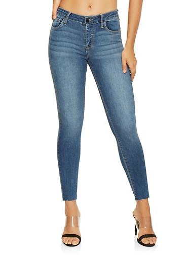 Cello Raw Hem Skinny Jeans,MEDIUM WASH,large
