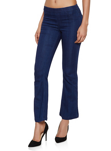Cello Flared Stretch Pull On Jeans,DARK WASH,large
