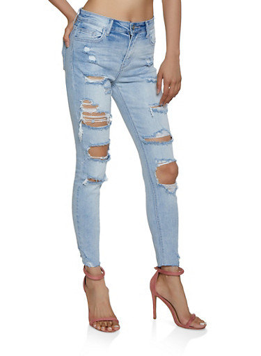 Cello Raw Hem Ripped Jeans,LIGHT WASH,large