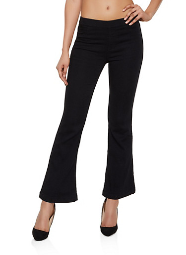 Cello Flared Pull On Stretch Jeans,BLACK,large
