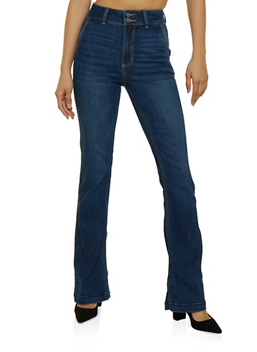 Cello Whiskered Flared Jeans,DARK WASH,large