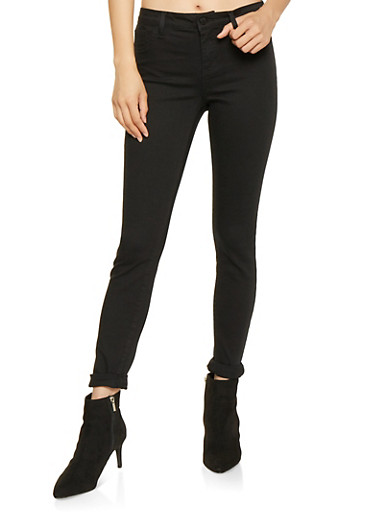 Cello Rolled Cuff Skinny Jeans,BLACK,large