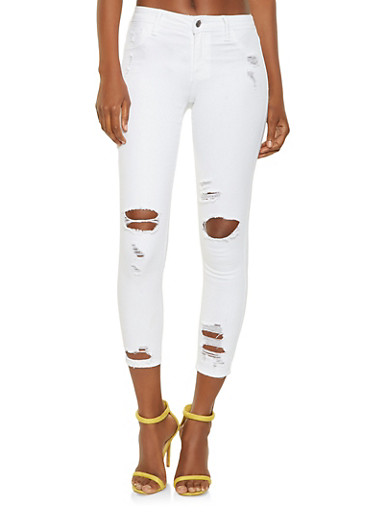 Cello Distressed Skinny Jeans in Ankle Length,WHITE,large