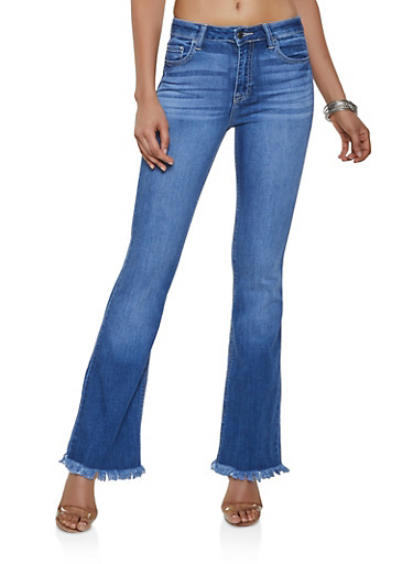 Cello Frayed Flared Jeans,DARK WASH,large