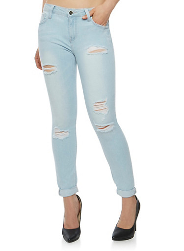 Cello Distressed Roll Cuff Skinny Jeans,LIGHT WASH,large