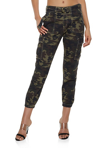 Cello Belted Camo Cargo Joggers,OLIVE,large