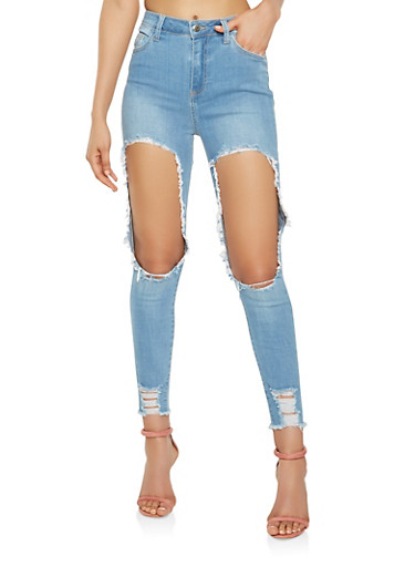 Cello High Waisted Destroyed Skinny Jeans - 3074063156027