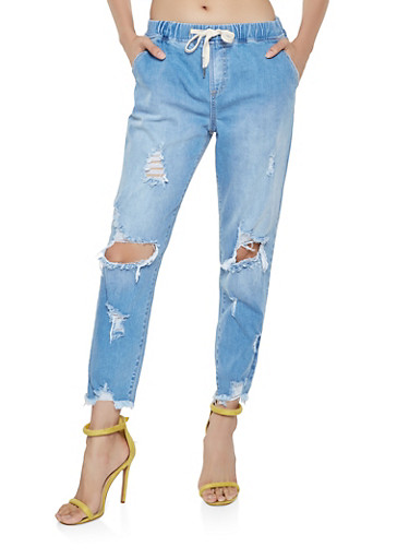 Cello Destroyed Pull On Jeans,LIGHT WASH,large