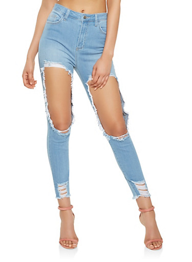 Cello High Waisted Destroyed Skinny Jeans,LIGHT WASH,large