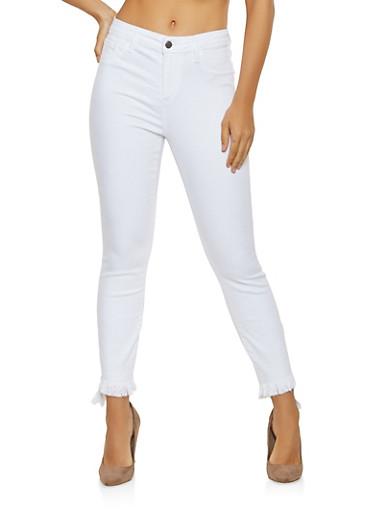 Cello Frayed Hem Jeans,WHITE,large