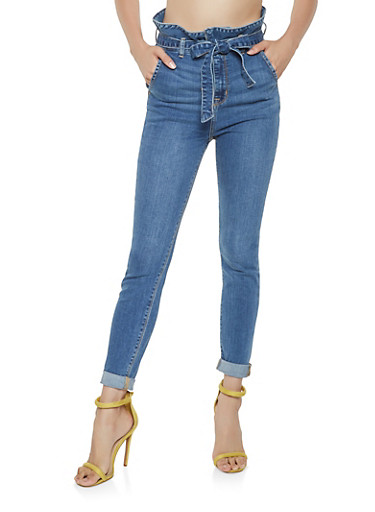 Cello Paper Bag Waist Skinny Jeans,MEDIUM WASH,large