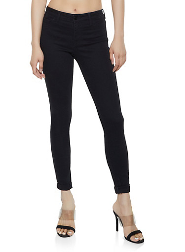 Cello Cuffed Black Skinny Jeans,BLACK,large
