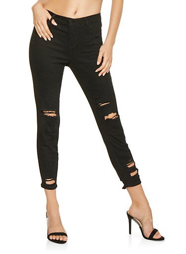 Cello Distressed Skinny Jeans,BLACK,large