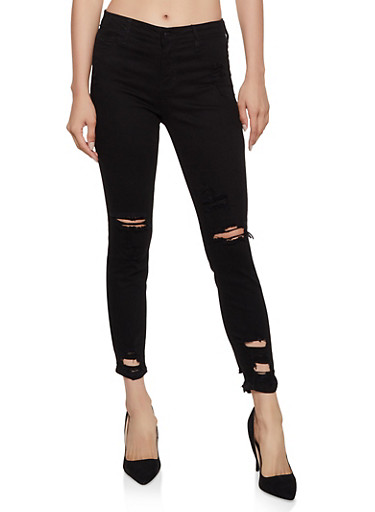Cello Distressed Skinny Jeans | 3074063157474,BLACK,large