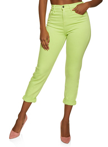 Cello Colored Roll Cuff Straight Leg Jeans,LIME,large