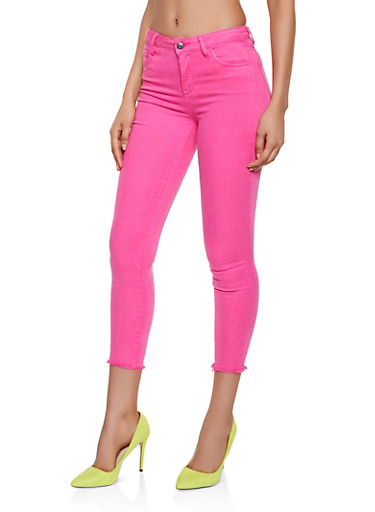Cello Frayed Hem Jeans   Neon Pink,PINK,large