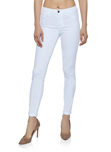 Cello Solid Rolled Cuff Skinny Jeans,WHITE,large
