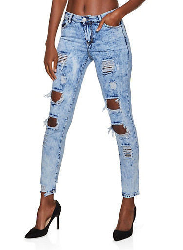 Ripped Acid Wash Skinny Jeans,LIGHT WASH,large