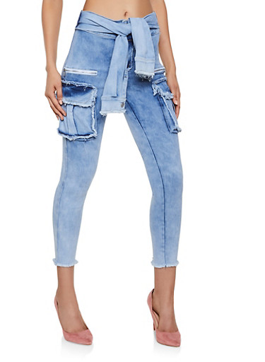 Cargo Tie Front Jeans,LIGHT WASH,large