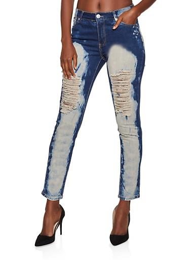 Destroyed Acid Wash Jeans,DARK WASH,large