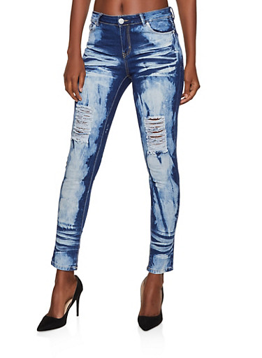 Acid Wash Skinny Jeans,MEDIUM WASH,large