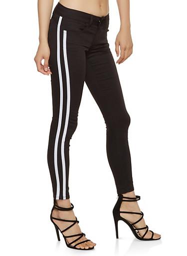VIP Side Stripe Push Up Skinny Jeans,BLACK,large