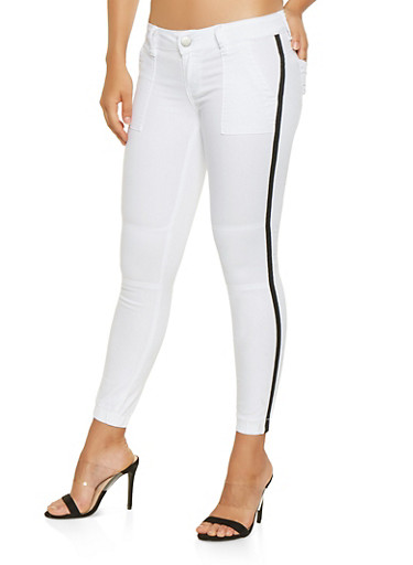 Side Tape Push Up Jeggings,WHITE,large