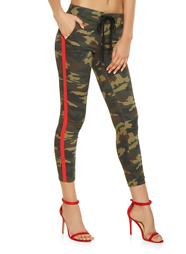 Side Tape Camo Joggers,OLIVE,large