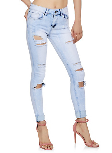 VIP Ripped Bleached Skinny Jeans,MEDIUM WASH,large