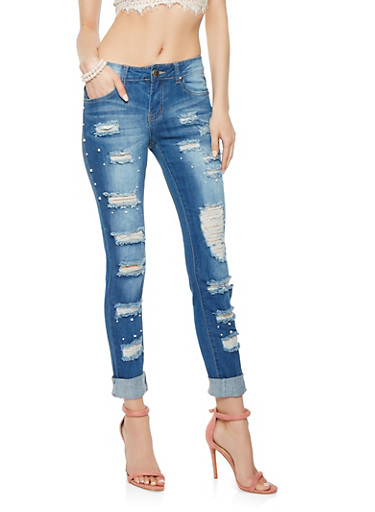 VIP Faux Pearl Studded Destroyed Jeans,MEDIUM WASH,large