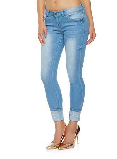 VIP Faux Pearl Cuffed Jeans,LIGHT WASH,large