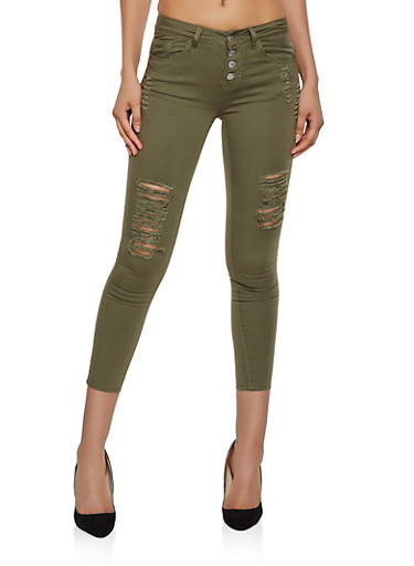 VIP Distressed 4 Button Skinny Jeans | Olive,OLIVE,large