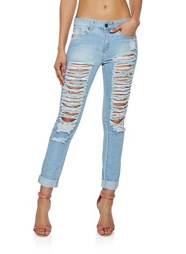 Vip Slashed Roll Cuff Jeans by Rainbow
