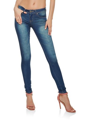 VIP Whisker Wash Push Up Skinny Jeans,MEDIUM WASH,large