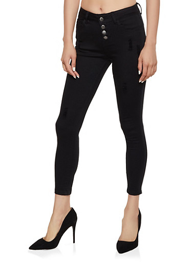 VIP Solid Frayed Skinny Jeans,BLACK,large