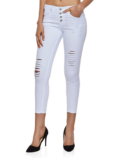 VIP Distressed 4 Button Skinny Jeans | White,WHITE,large