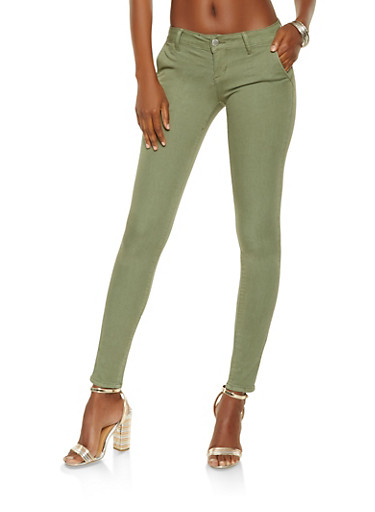 VIP Solid Skinny Jeans,OLIVE,large