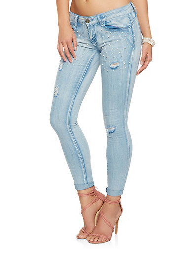VIP Faux Pearl Embellished Skinny Jeans,LIGHT WASH,large