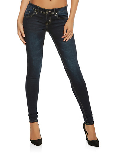 VIP Whisker Wash Push Up Skinny Jeans,DARK WASH,large
