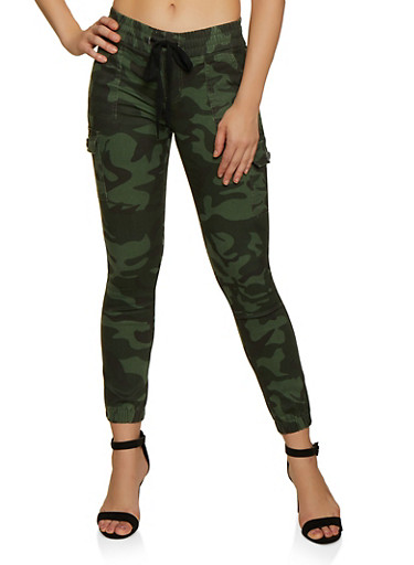 VIP Camo Cargo Joggers,OLIVE,large