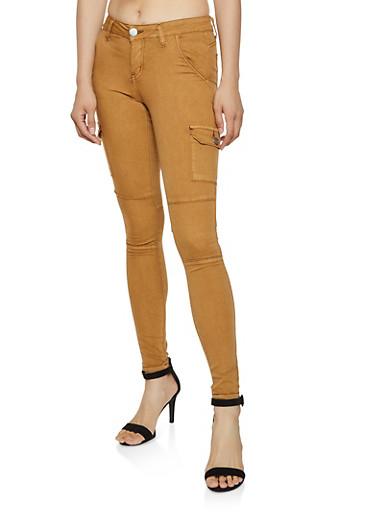 VIP Skinny Cargo Jeans,TAN,large