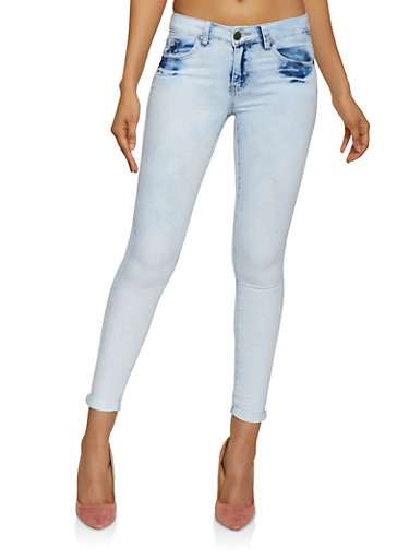 VIP Bleached Skinny Jeans,LIGHT WASH,large